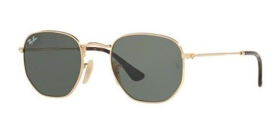 Oculos Sol Ray Ban Rb3548n 001 51 Dourado Lente Verde G15