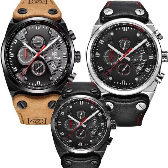Relógio Masculino Promoção Benyar Cronógrafo Funcional Couro Original