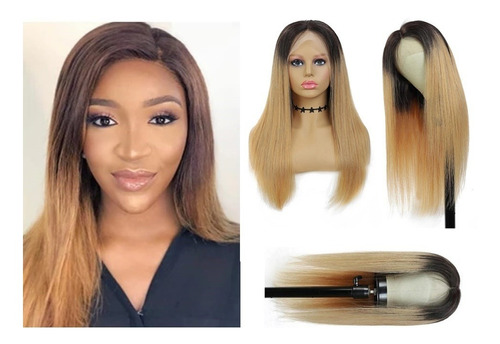 Peruca Front Lace Degrade 100% Humano Ombre Hair Loiro Mel