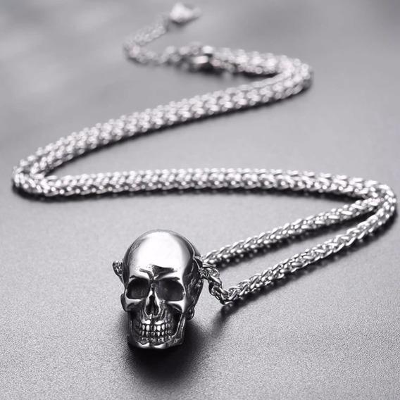 Colar Masculino Aço Esqueleto Prata Caveira Crânio 3d C1034