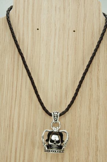 Colar Couro Coroa Caveira Bali Especial (l22,7) Prata 925