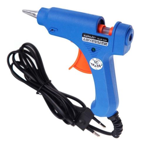 Pistola De Silicon De Barra Pequeña 20w Azul
