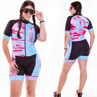 Roupa De Ciclismo,macaquinho Feminino Camuflado Azul E Rosa