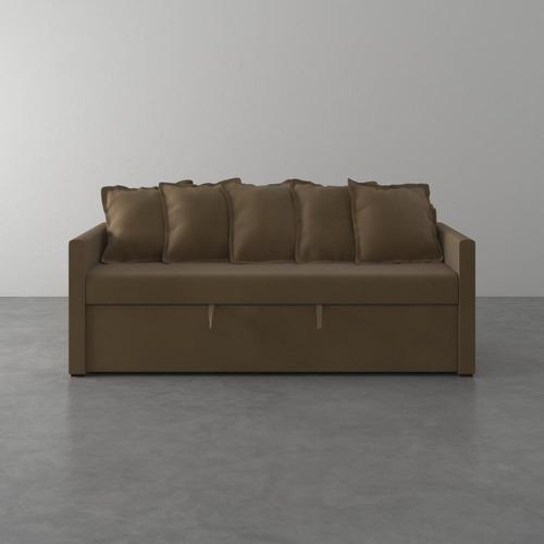 Imagem 1 de 6 de Sofa-cama De 2 Lugares Emily De Suede Taupe 200cm