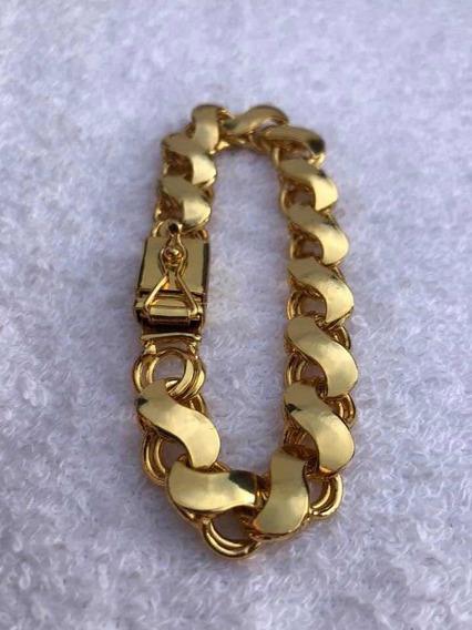 Pulseira Modelo Imperador Banhado A Ouro 18k Friso 21cm