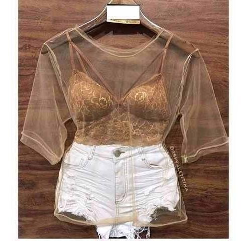 Camisa Blusa Transparente Bruna Marquezine
