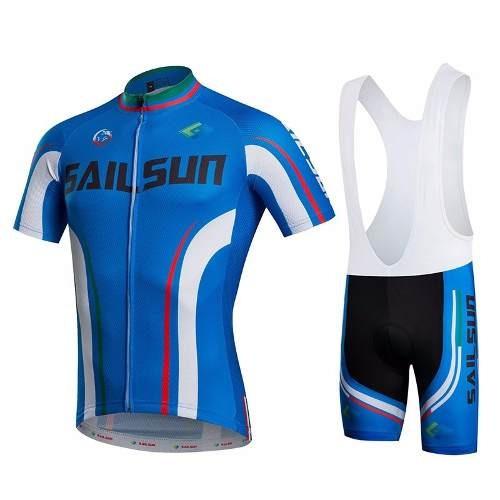 19ff6f5877 Conjunto Ciclismo Masculino Camisa + Bretelle Azul Sail Sun - R  204 ...