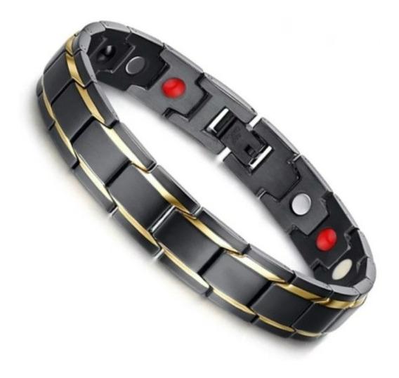 Pulseira Bracelete Magnética Aço Titanium Ouro 18k Promoção