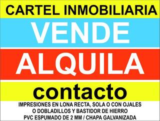 Cartel Inmobiliaria Lona Vinilica 100x80 Cm + 4 Argollas