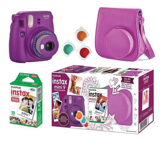 Kit Fujifilm Instax Mini 9 Roxo Açai + Acessórios