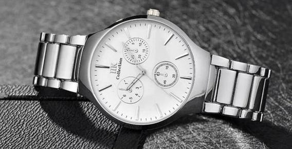 Relógio Unisex Branco Prateado Adultos Metal Prateado
