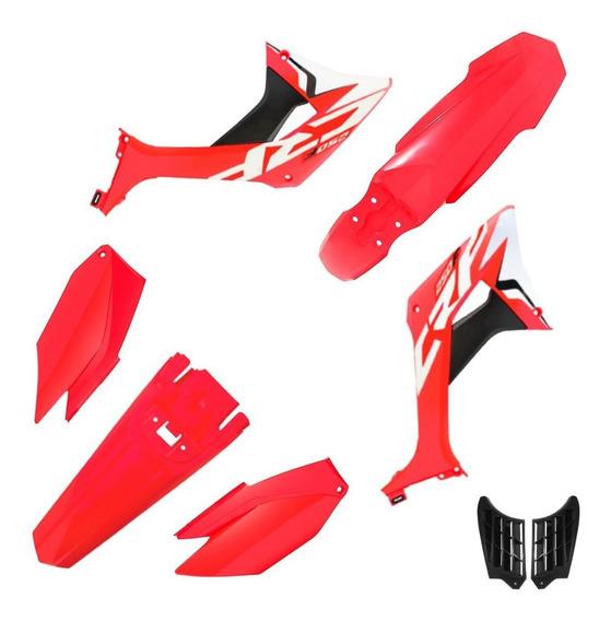 Kit Plastico Roupa Biker Evo Crf 250f Com Adesivos Vermelho / Vermelho