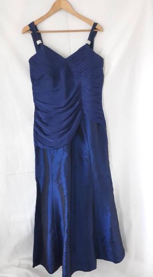 Vestido De Fiesta Largo Color Azul - Talle 46