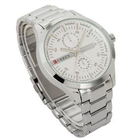 Relógio Clássico Masculino Original Curren Aço Prata 8128