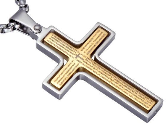 Colar Crucifixo Masculino Prata Interior Dourado Orar 60834