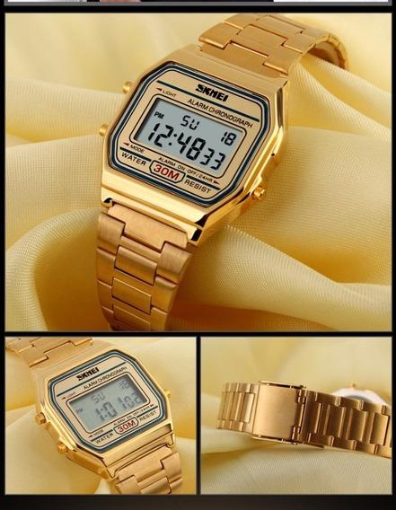 Relógio Skmei Dourado Estilo Retro Vintage