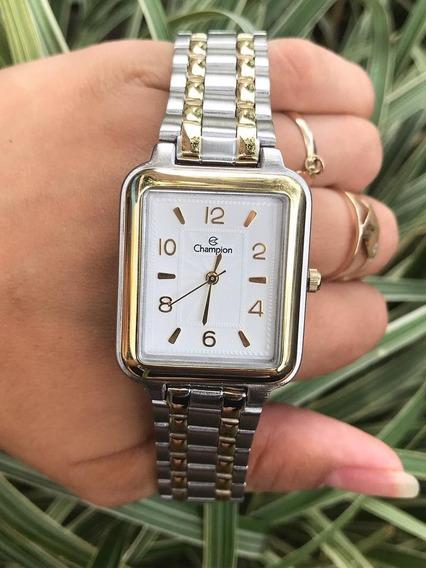 Relógio Champion Social Feminino Prata Cn20471b Quadrado