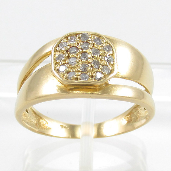 Esfinge Jóias - Anel Design Diamantes Aro14,5 Ouro 18k 750.