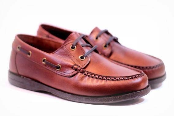Zapatos Náuticos 100% Cuero 550 Acordonados Con Goma Febo