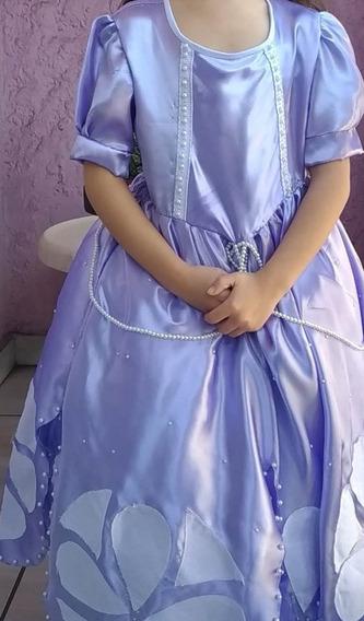 Vestido Princesa Sofia Semi Novo,usou Uma Vez,3 A 5 Anos