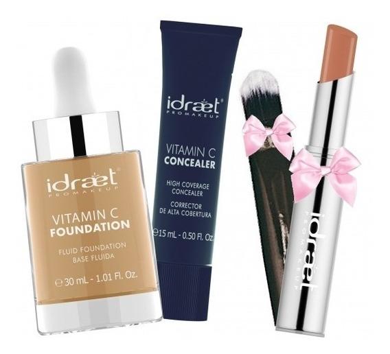 Maquillaje Profesional Idraet + Pincel Y Labial De Regalo Cs