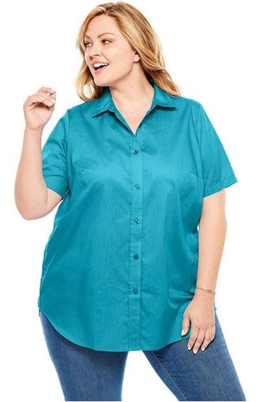 Camisa Dama, Plus Size, Importada, Mangas Cortas, Algodón!