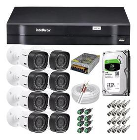 Kit Cftv 8 Câmeras Multi Hd 720p Dvr 8 Canais Intelbras 1108