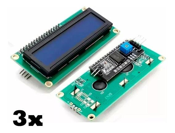 3x Arduino Display Lcd 16x2 Azul + I2c Soldado Na Placa Pic