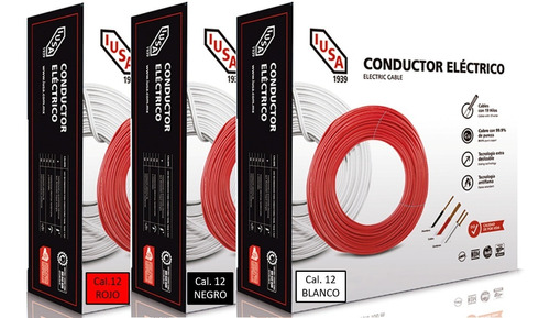 Kit 3 Cajas 100 Mts Cable Iusa Negro,blanco,rojo Thw Cal 12