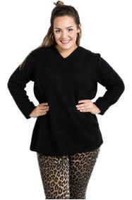 Sweater Escote V Mujer Talles Grandes Lana Otoño
