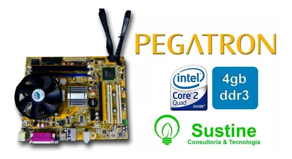 Kit Placa Mãe Pegatron Ipm41-d3 + Core2 Quad + 4gb Ddr3