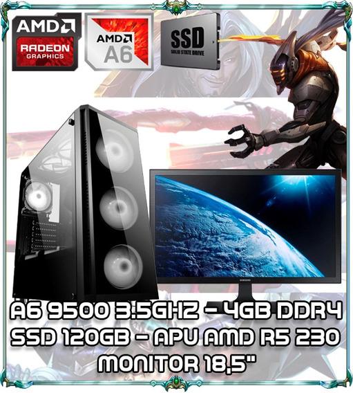 Cpu Pc Gamer A6 9500 Dual Core 3.5ghz 4gb Ddr4 Monitor 18,5