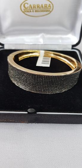 Bracelete Folhado A Ouro Com Zircônias Negras E Ródio Negro