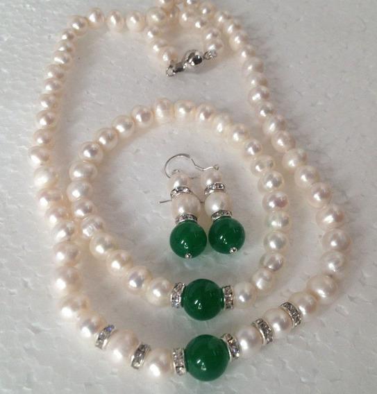 Collar Y Pulsera Aretes,perlas Cultivadas,con Jade