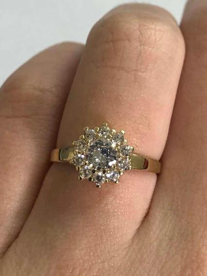 Anel Maravilhoso Com Pedras Ouro 10k 416 Perfeito Ouro