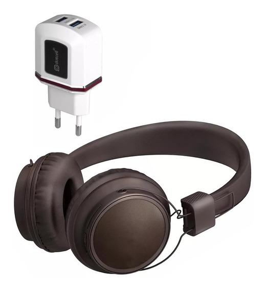 Kit Fone Bluetooth Cabo E Carregador 2 Usbs Turbo Marrom