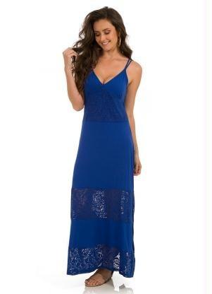 Vestido Lindos Malha De Viscose Rovitex Azul Frete Grátis