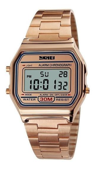 Relógio Feminino Masculino Digital Retro Skmei 1123 Dourado