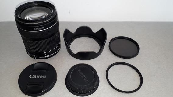 Lente Canon 18-135 Mm + 2 Filtros Uv + Parassol