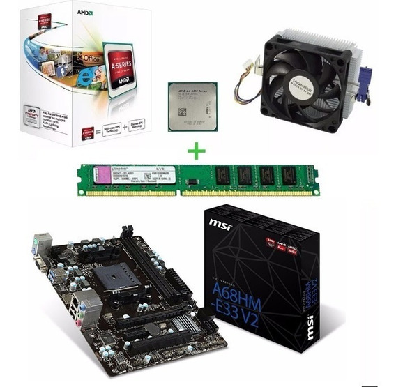Kit Msi A68hm Processador Amd A4 4000 3.2ghz Fonte Atx 1x4gb