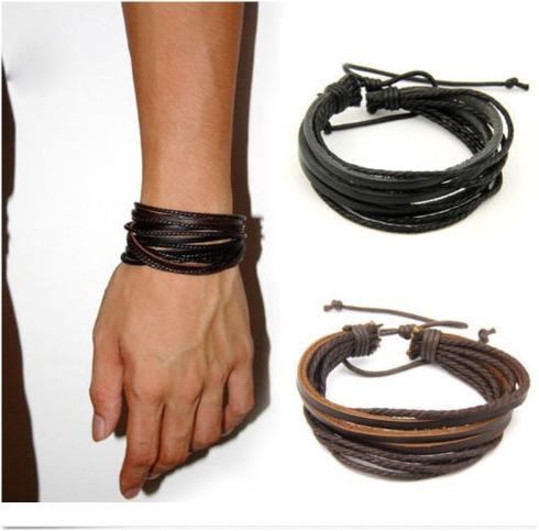 Pulseira/bracelete Ajustavel Couro Unissex Tribal - 2 Cores