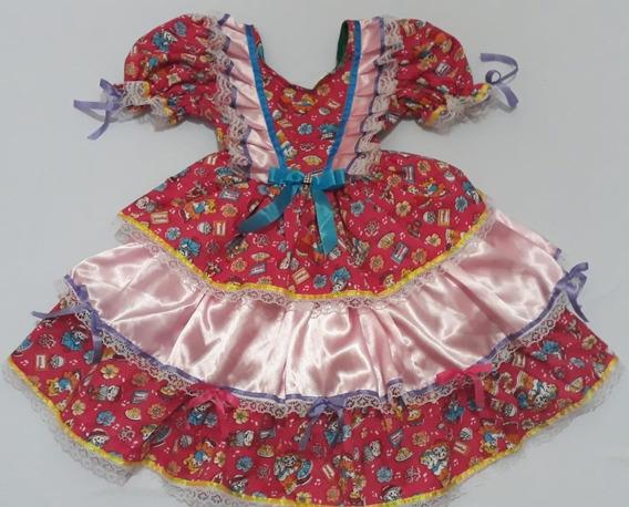 Vestido De Festa Junina Caipira Com Laços E Fitas Rosa Novo