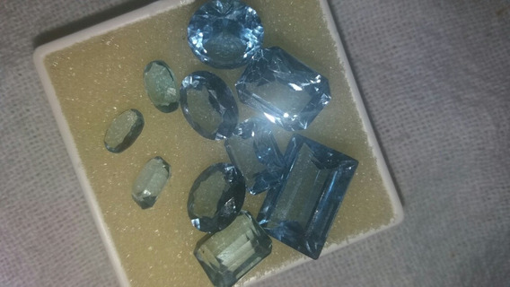 Pedra Águas Marinhas, Kit Com 10 Pedras Com 35cts