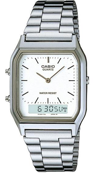 Relógio Casio Unissex Retangular Prata Aq-230a-7dmq