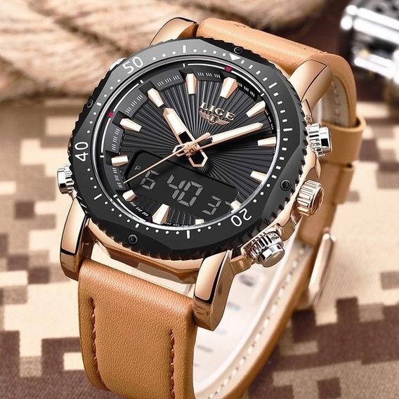 Relógio Masculino Lige Analógico Digital Original C/ Caixa