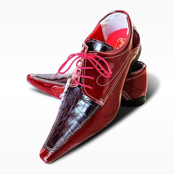 Sapato Social Couro Premium Vinho - Modelo Luxuoso (ref.623)