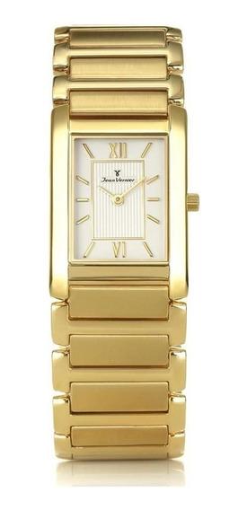 Relógio Jean Vernier Feminino Jv2006 Slim Retangular Dourado