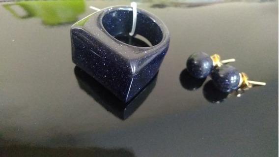 Kit Anel + Brinco De Pedra/varias Cores.