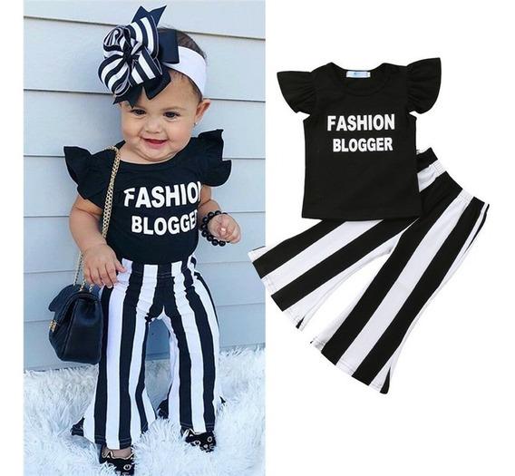 Conjunto Fashion De Menina Calça Flare Listrado