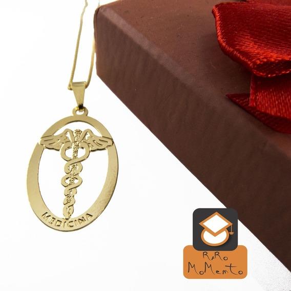 Colar Medicina - Folheado Em Ouro (garantia 1 Ano)